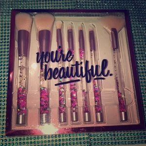 7 Piece Glitter Crystal Makeup Brush Set 🖌
